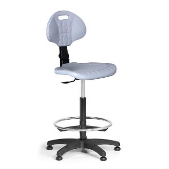 Pracovní židle PUR, šedá bez područek, kluzáky