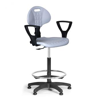 Pracovní židle PUR, šedá s područkami, kluzáky