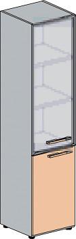Kancelářská skříň, 1965x 399x425, dub šedý, dělená levá sklo, WELS
