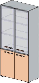 Kancelářská skříň, 1965x 798x425, dub šedý, dělená sklo, WELS