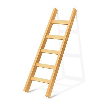 Dřevěný žebřík 16 příček, délka 5 m