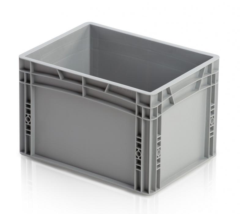 Plastová přepravka, uzavřené rukojeti, 400x300x270 mm