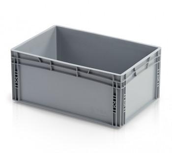 Plastová přepravka, uzavřené rukojeti, 600x400x270 mm