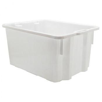 Zasouvací a stohovací přepravka bílá, 550x430x310 mm