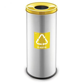 Koš na tříděný odpad 45 l šedý/žluté víko