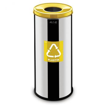 Koš na tříděný odpad 45 l nerez/žluté víko
