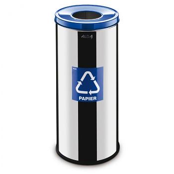 Koš na tříděný odpad 45 l nerez/modré víko