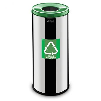 Koš na tříděný odpad 45 l nerez/zelené víko