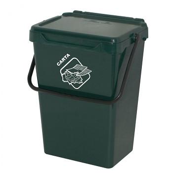 Plastový odpadkový koš, tm. zelený, 35 l