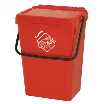 Plastový odpadkový koš, červený, 35 l