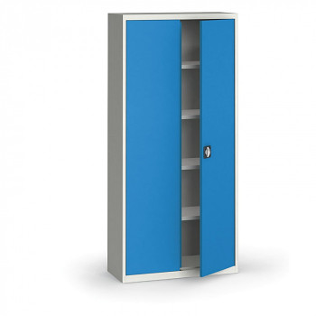 Kovová skříň 1950x 950x400 mm, šedá/modrá, 50 kg na polici