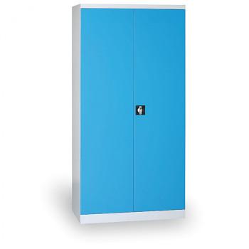 Kovová skříň 1820x 850x390 mm, šedá/modrá, 50 kg na polici