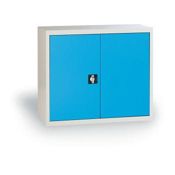 Kovová skříň  800x 850x390 mm, šedá/modrá, 50 kg na polici