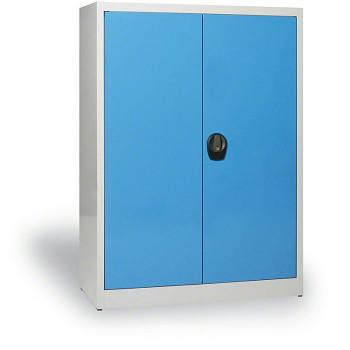 Kovová skříň 1150x 850x390 mm, šedá/modrá, 50 kg na polici