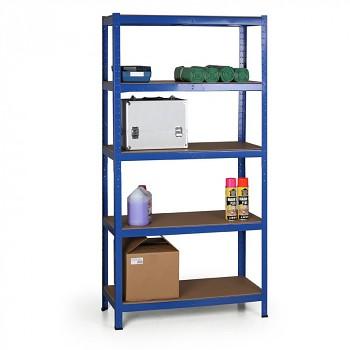 Základní regál zásuvný, 280 kg/police - surová dřevotříska x5, 1800x 900x 400, modrý
