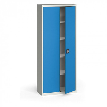 Kovová skříň 1950x 800x400 mm, šedá/modrá, 60 kg na polici