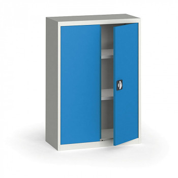 Kovová skříň 1150x 800x400 mm, šedá/modrá, 60 kg na polici