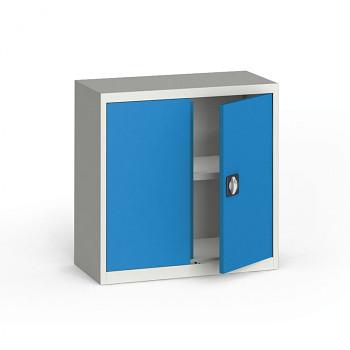 Kovová skříň  800x 800x400 mm, šedá/modrá, 60 kg na polici