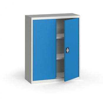 Kovová skříň 1150x 950x400 mm, šedá/modrá, 60 kg na polici