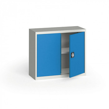 Kovová skříň  800x 950x400 mm, šedá/modrá, 60 kg na polici