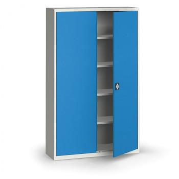 Kovová skříň 1950x1200x400 mm, šedá/modrá, 60 kg na polici