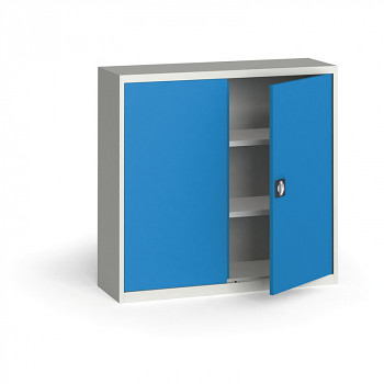Kovová skříň 1150x1200x400 mm, šedá/modrá, 60 kg na polici