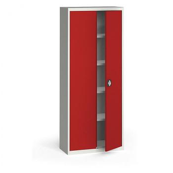 Kovová skříň 1950x 800x400 mm, šedá/červená, 60 kg na polici