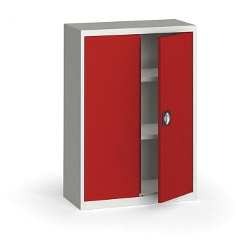 Kovová skříň 1150x 800x400 mm, šedá/červená, 60 kg na polici