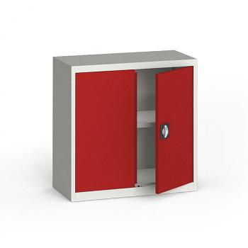 Kovová skříň  800x 800x400 mm, šedá/červená, 60 kg na polici