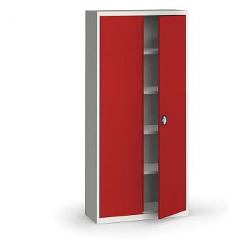 Kovová skříň 1950x 950x400 mm, šedá/červená, 60 kg na polici
