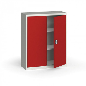 Kovová skříň 1150x 950x400 mm, šedá/červená, 60 kg na polici