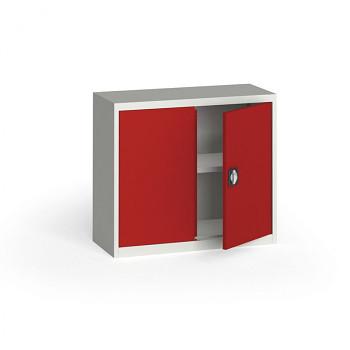 Kovová skříň  800x 950x400 mm, šedá/červená, 60 kg na polici