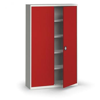 Kovová skříň 1950x1200x400 mm, šedá/červená, 60 kg na polici