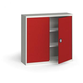 Kovová skříň 1150x1200x400 mm, šedá/červená, 60 kg na polici