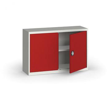 Kovová skříň  800x1200x400 mm, šedá/červená, 60 kg na polici