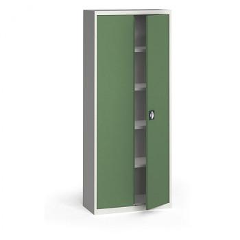 Kovová skříň 1950x 800x400 mm, šedá/zelená, 60 kg na polici