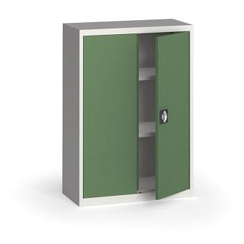 Kovová skříň 1150x 800x400 mm, šedá/zelená, 60 kg na polici