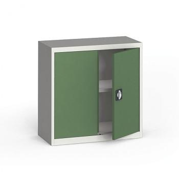 Kovová skříň  800x 800x400 mm, šedá/zelená, 60 kg na polici