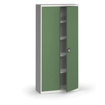 Kovová skříň 1950x 950x400 mm, šedá/zelená, 60 kg na polici