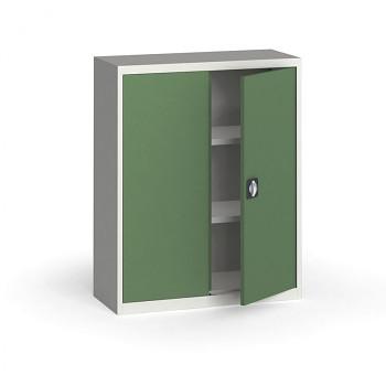 Kovová skříň 1150x 950x400 mm, šedá/zelená, 60 kg na polici