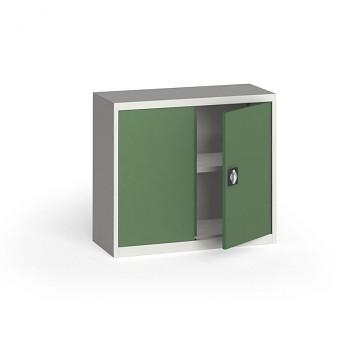 Kovová skříň  800x 950x400 mm, šedá/zelená, 60 kg na polici
