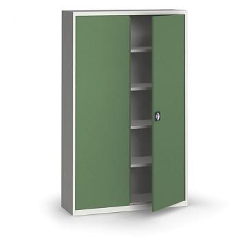 Kovová skříň 1950x1200x400 mm, šedá/zelená, 60 kg na polici