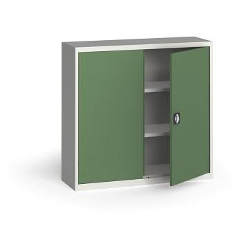 Kovová skříň 1150x1200x400 mm, šedá/zelená, 60 kg na polici