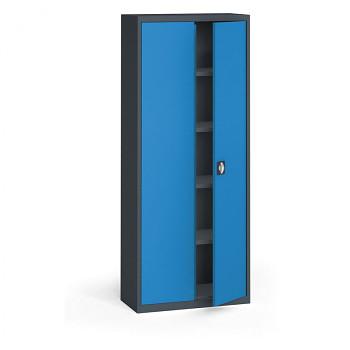 Kovová skříň 1950x 800x400 mm, antracit/modrá, 60 kg na polici