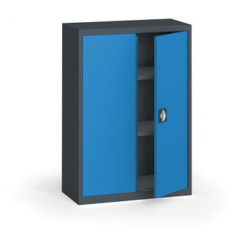 Kovová skříň 1150x 800x400 mm, antracit/modrá, 60 kg na polici