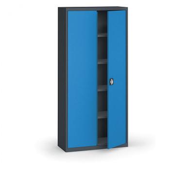 Kovová skříň 1950x 950x400 mm, antracit/modrá, 60 kg na polici