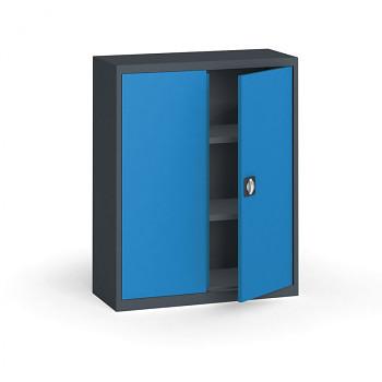 Kovová skříň 1150x 950x400 mm, antracit/modrá, 60 kg na polici