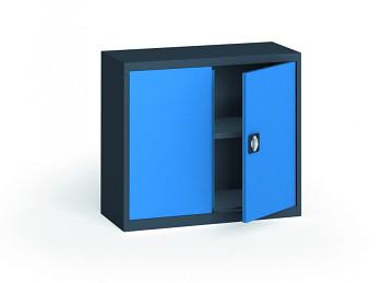 Kovová skříň  800x 950x400 mm, antracit/modrá, 60 kg na polici