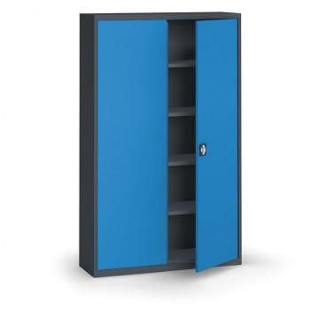 Kovová skříň 1950x1200x400 mm, antracit/modrá, 60 kg na polici