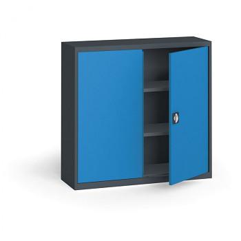 Kovová skříň 1150x1200x400 mm, antracit/modrá, 60 kg na polici
